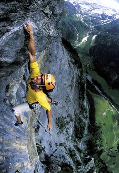 Matthias Trottman climbs a mountain in Engelberg, Switzerland.