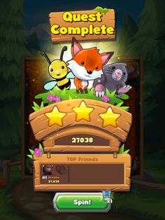 Forest Home | Quest Results| UI, HUD, User Interface, Game Art, GUI, iOS, Apps…