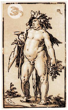 Goltzius, Hendrik - Bacchus mit Tierkreiszeichen Skorpion, um 1589, 23,9 × 14,3 cm, Clair-Obscure-Holzschnitt, London, British Museum, Department of Prints and Drawings