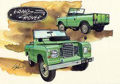 Land Rover Vintage Series by Yoshiharu Miyakawa Land Rover 88, Land Rover Series 3, Land Rover Defender 110, Lander Rover, Hot Rod Tattoo, Jeep 4x4, Jeep Rubicon, Terrain Vehicle, Toyota Fj Cruiser