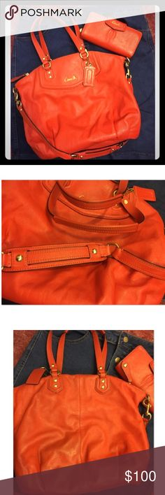 Coach purse & wallet set Gently used excellent condition. Beautiful orange. Pics of purse are of all sides. The handles are in excellent condition. The inside has normal makeup areas nothing too crazy. The wallet is like new hardly used. Additional photos of wallet on another. The only area w slight darkening is the back where it rubs against you but not too noticeable. The bottom is clean an sm area in front shown in close up photo. Firm price it's for both. Great deal! Coach Bags