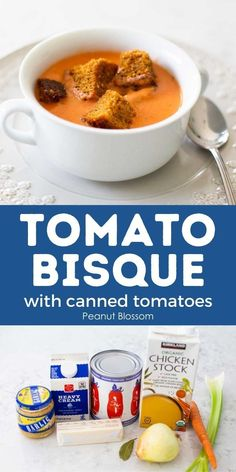 This easy tomato bisque soup is made with canned tomatoes and a few fresh ingredients for a quick and easy homemade soup. It makes a comforting family dinner or an elegant holiday meal starter. Serve with fresh bread, grilled cheese sandwiches, or homemade croutons for a special twist.