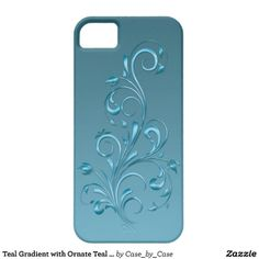 Teal Gradient with Ornate Teal Floral Swirls