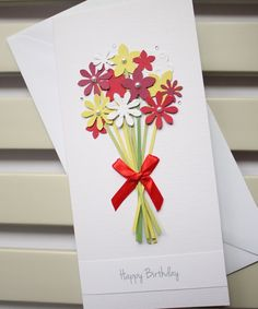 Handmade Birthday Card with a Bouquet of Red and by PaperSoupCards