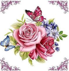 Новости roses and butterflies Decoupage Vintage, Decoupage Paper, Vintage Diy, Vintage Paper, Vintage Flowers, Vintage Floral, Art Floral, Wallpaper Flower, Decoupage Printables