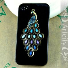 Peacock iPhone 4 case bedazzled on etsy