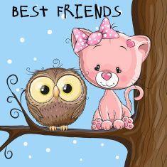 Owl and Kitten vector art illustration