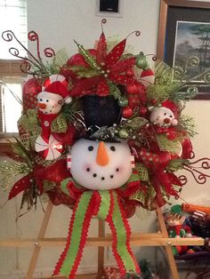 Christmas Deco Mesh Snowman Wreath by WreathsEtc on Etsy Merry Christmas To You, Christmas Wishes, Christmas Time, Christmas Mesh Wreaths, Deco Mesh Wreaths, Snowman Decorations, Christmas Decorations, Holiday Crafts, Holiday Decor