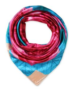 corciova Women's silk Like scarf for hair wrapping headwrap 35 x 35 inches Bright Cerulean and Fluorescent Pink $9.99 Free Shipping