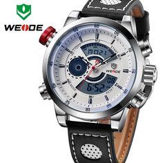 0ac93f1f08 WEIDE Men s Fashion Casual Sports Watch Quartz Digital LED Back Light Military  relogio masculino Waterproof Men Watches