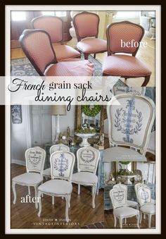 Updating a set of flea market french dining chairs with paint and grain sacks!