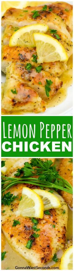Easy Lemon Pepper Chicken Recipe – it's light and crispy, with a peppery, creamy lemon sauce that transforms your table into an elegant French dining room in less than 30 minutes. Made in One Skillet. Great served with pasta to soak up ALL the sauce! #LemonPepper #Chicken #