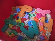 Put together an alphabet sensory bucket for a fun way to learn the alphabet.