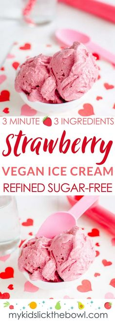 vegan strawberry-ice-cream, a fast and easy recipe for dairy free ice cream, using 3 ingredients Recipes vegan Minute Strawberry Vegan Ice Cream - Paleo Ice Cream Paleo Ice Cream, Dairy Free Ice Cream, Ice Cream Recipes, Fast Easy Meals, Fun Easy Recipes, Dairy Free Recipes, Gluten Free, Vegan Sweets, Healthy Desserts
