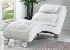 Chaise Leatherette, MetalColor: WhiteDimensions: x x lb. Tufted Chaise Lounge, Upholstered Sofa, White Furniture, Living Room Furniture, Luxury Furniture, Furniture Design, White Coasters, Leather Lounge, Small Pillows
