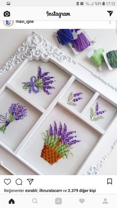 Lavanta modeli Tiny Cross Stitch, Cross Stitch Flowers, Cross Stitch Charts, Hand Embroidery, Cross Stitch Embroidery, Cross Stitching, Modern Cross Stitch Patterns, Cross Stitch Designs, Crochet Cross