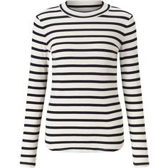 Jigsaw Stripe Rib Turtle Neck (100 CAD) ❤ liked on Polyvore featuring tops, navy, women, turtle neck top, white turtleneck, navy top, cotton turtleneck and ribbed turtleneck