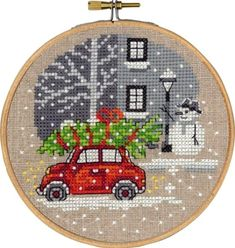 Permin Red Fiat Cross Stitch Kit (with hoop) - Discover more kits by Permin at LoveCrafts. From knitting & crochet yarn and patterns to embroidery & cross stitch supplies! Tiny Cross Stitch, Xmas Cross Stitch, Cross Stitch Christmas Ornaments, Cross Stitch Charts, Cross Stitch Designs, Cross Stitching, Cross Stitch Embroidery, Cross Stitch Patterns Free Christmas, Cross Stitch Supplies