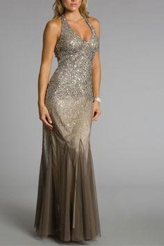 Fabulous Sheath Halter Evening Dress with Lavish Sequins