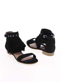 Černé semišové sandály s třásněmi Tamaris a55e21a14bf
