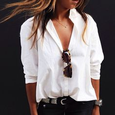 Effortless in a white button down and tortoise shell sunglasses. www.topshelfclothes.com