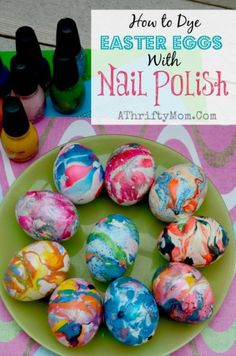 Nail Polish Swirl Easter Eggs. How to dye Easter Eggs with Nail Polish in a cup of water! Super easy way to dye eggs and enjoy bright and vibrant colors on your eggs!