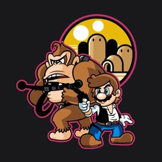"""""""Mario Solo"""" by Demonigote Mario and Donkey Kong in the style of Han Solo and Chewbacca Super Mario Bros, Super Mario Brothers, Dope Cartoons, Dope Cartoon Art, Day Of The Shirt, Cartoon Crossovers, Donkey Kong, Video Game Art, Cultura Pop"""