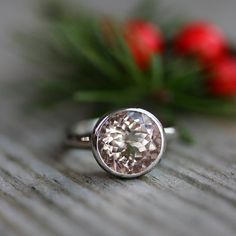 MORGANITE and 14k Palladium White Gold Ring, Made to Order Solitaire Handmade Engagement Ring