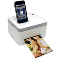 The iPhone Photo Printer. This is the first printer that produces photo quality pictures directly from a docked iPhone or iPod touch. Requiring no computer or software, the printer is controlled from your iPhone via a free downloadable app. In less than a minute and without ink cartridges, it prints crystal-clear 300 dpi resolution pictures with vibrant colors, thanks to patented paper embedded with yellow, magenta, and cyan dye crystals. The photographs are smudge- and tear-proof, fade…