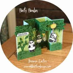 Party Pandas, Double Pop Up, Gate Fold, Box Card Tutorial Fun Fold Cards, Pop Up Cards, Cool Cards, Box Cards Tutorial, Card Tutorials, Arte Pop Up, Panda Day, Panda Birthday, Scrapbooking