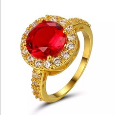 Round Ruby Red Halo Yellow Gold Engagement Ring
