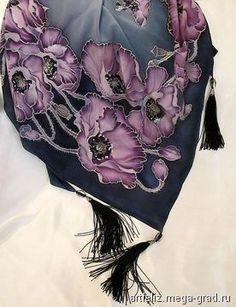 """Платок """"Маки"""" - батик, авторские шарфы и платки. МегаГрад - мега-портал авторской ручной работы"""