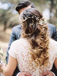 Pretty floral accented wedding hairstyle - Deer Pearl Flowers / http://www.deerpearlflowers.com/wedding-hairstyle-inspiration/pretty-floral-accented-wedding-hairstyle/