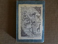 """""""Pollyana"""" book with hand-drawn book page cover Etsy shop UniquelyMeKLS"""