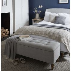 50 Stunning Blue Bedroom Decorating Ideas To Bring Perfect Accent. The blue bedroom decorating ideas may be used not just to produce the bedroom attractive but the ideal location for getting a great n. Navy Bedrooms, Gray Bedroom, Bedroom Loft, Trendy Bedroom, Bedroom Storage, Bedroom Ottoman, Master Bedrooms, Navy Bedroom Decor, Bedroom Pics