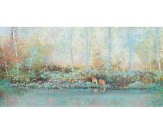 Autumn landscape, landscape art, river, creek, trees, forest, autumn trees, living room art