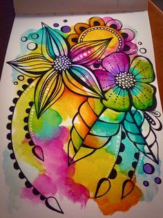 Guaaaa pen and watercolor, prima watercolor, watercolor mandala, mandala art, watercolor paintings Prima Watercolor, Watercolor Mandala, Pen And Watercolor, Watercolor Paintings, Doodle Art Journals, Art Journal Pages, Doodling Art, Tracy Scott, Art Journal Inspiration