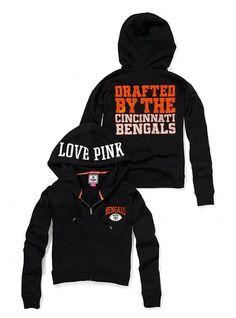 Cincinnati Bengals Bling Slouchy Zip Hoodie - Victoria's Secret PINK® - Victoria's Secret