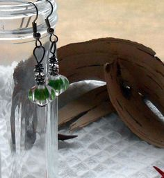 Forest Green Handmade Beaded Earrings  Green by TheYellowHouse39