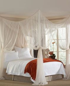 Add a delicate—and dreamy—touch to your bedroom with a canopy for your bed! You could DIY any of these! 1. All-around square canopy with sheer white fabric. Source         &nbsp...