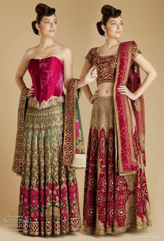 varun bahl wedding dress lehenga 2011, indian bridal fashion from couture rani - teal and fuchsia floral net lengha, champagne gold georget lehenga choli