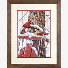 Dimensions Cardinals On Sled - Cross Stitch Kit. Dimensions' wintry Cardinals on Sled in counted cross stitch is a beautiful, nostalgic design to display all ye Just Cross Stitch, Cross Stitch Needles, Counted Cross Stitch Patterns, Knitting Supplies, Christmas Cross, Sled, Cross Stitching, Cardinals, Xmas