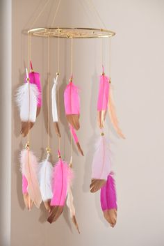 Nursery Mobile Dreamcatcher Pink  Feathers  by BlueDreamcatcher