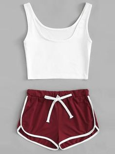 Dotfashion Scoop Neck Crop Top With Drawstring Shorts 2 Piece Sets Women 2019 Summer Casual Sleeveless Ladies Two Piece Outfits Cute Lazy Outfits, Crop Top Outfits, Crop Top And Shorts, Trendy Outfits, Chic Outfits, Teen Fashion Outfits, Sport Outfits, Yoga Outfits, Workout Outfits