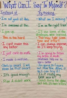 Growth Mindset - Talk It Out. Anchor chart to help students create a positive mindset. Great for my adult students who have had previous setbacks in education. Lerntyp Test, 3rd Grade Thoughts, 3rd Grade Classroom, Future Classroom, Classroom Decor, Bulletins, School Counselor, Anchor Charts, Social Skills