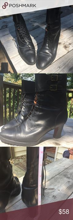 Vintage Ralph Lauren lace up black granny boots This beautiful in mint vintage condition Ralph Lauren boot is circa 1980s. Still comfy still with original laces and souls. I was going to fix the heel and will do if you'd like. 10 dollar repair with my guy. I hate to part with them. But they will be a joy to you!  🤠💃🏻💝 Shoes Ankle Boots & Booties