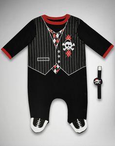 Skull and vest infant sleeper and wrist rattle set