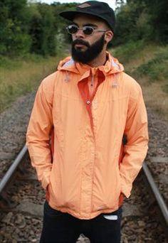 Vintage Orange K-Way Wind Breaker Jacket