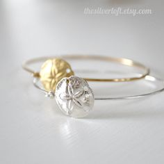 SALE Stackable Sand dollar Bangle in Gold or silver Plating