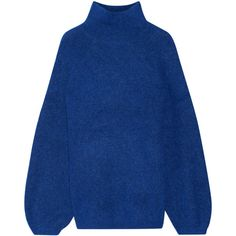 By Malene Birger Balero knitted turtleneck sweater ($275) ❤ liked on Polyvore featuring tops, sweaters, royal blue, blue sweater, turtleneck sweater, fuzzy sweater, blue oversized sweater and royal blue turtleneck